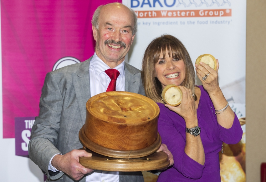 2020 World Scotch Pie Champion Alan Pirie with awards host Carol Smillie