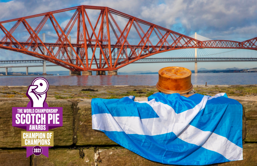 The iconic Pie trophy at the iconic Scottish location of the Three Bridges